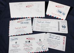 Red & Blue Vintage Air Mail & World Map Boarding Pass Wedding Invitations & Stationery