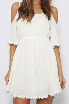 Sweet Off-The-Shoulder Crochet Flower Embellished Half Sleeve Dress For Women