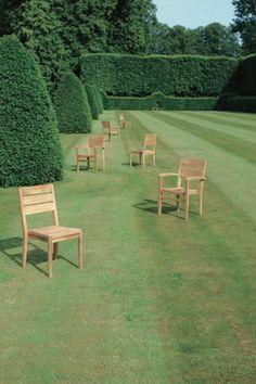 Chaise de jardin contemporaine empilable (teck) EXETER Tectona