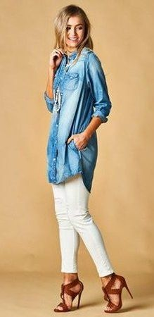 summer outfits Denim Shirt + White Skinny Jeans