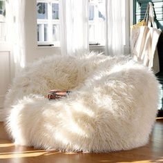 PB Teen Furlicious Beanbag, Large, Ivory at Pottery Barn Teen - Bean Bag Chairs - Lounge Bags - Teen Beanbag