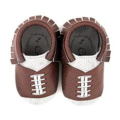 Your tot will be the star of the field with these stylish football moccs. They may be a little too young for the pigskin, but they can root for the home team and rock these genuine leather slip-ons instead. Our printing process on our quality leather ensures that your cherub's little... see more details at https://bestselleroutlets.com/baby/apparel-accessories/baby-boys/product-review-for-football-design-team-colors-moccasin-size-0-0-3-month-100-american-leather-moccasin