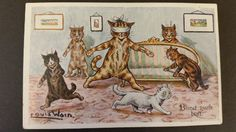 Lot 582 - POSTCARD, Louis Wain Cats, Faulkner Series 454D, pu (stamp removed), VG