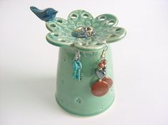 Mothers Day Birdie Earring Holder with bluebird ceramic pottery