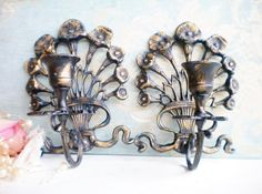 French Chic Wall Sconce Vintage Metal Sconces Candleholders Set Of Two Home Decor Wall Decor Shabby Chic Wedding by MyVingtique on Etsy Vintage Shabby Chic, Vintage Metal, Shabby Chic Decor, Living Room Candles, Sconces Living Room, Unique Candle Holders, Candle Holder Set, Candle Wall Sconces, Wall Sconce Lighting