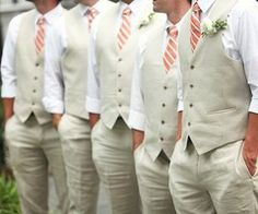Love the idea of having the groom and groomsmen in just vest and/or ties. You don't always have to wear the jacket.