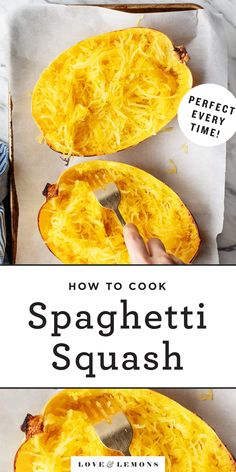 This is my go-to method for creating perfect al dente spaghetti squash strands to use in vegetable sides and main dishes. The exact timing will vary depending on the heat of your oven and the size of your squash. Vegetable Recipes, Vegetarian Recipes, Cooking Recipes, Healthy Recipes, Cooking Ideas, Healthy Meals, Courge Spaghetti, Vegetable Dishes, Easy Meals