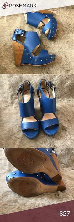Vince Camuto Matta Blue Wedges Size 5 1/2 Super cute Wedges. Good condition. No rips or stains. Size 5 1/2. Vince Camuto Shoes Wedges