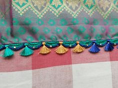 tassels for saree Saree Tassels Designs, Saree Kuchu Designs, Blouse Designs, Blouse Dress, Saree Blouse, Saree Border, Antique Necklace, Indian Sarees, Crochet Edgings
