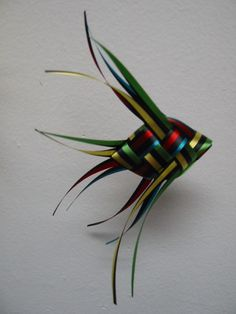 Ribbon Fish Mobile -  black striped with coordinating  solid colors . .  total of 20 fish by LenasFishMobilesEtc on Etsy https://www.etsy.com/listing/184376579/ribbon-fish-mobile-black-striped-with