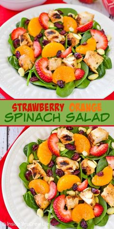 Strawberry Orange Spinach Salad - add fresh fruits, nuts, and cheese to this spinach salad for a delicious and fresh meal! Make this easy recipe for summer dinners! meals summer Strawberry Orange Spinach Salad with Chicken Spinach Salad With Chicken, Spinach Salad Recipes, Summer Salad Recipes, Salad Recipes For Dinner, Chicken Salad, Healthy Summer Dinner Recipes, Asparagus Salad, Chicken Pasta, Healthy Salads