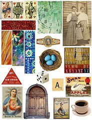 52 collages of all kinds of printables, from retro kitchen images to backs of old postcards. Great for projects! Free for personal use