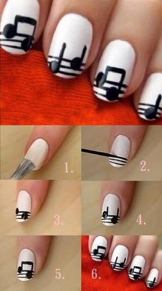 Easy Musical Notes Nail Art [video]