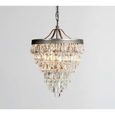 Pottery Barn Clarissa Crystal Drop Small Round Chandelier (£320) ❤ liked on Polyvore featuring home, lighting, ceiling lights, circular chandelier, chain chandelier, shimmer lights, pottery barn lighting and round chandelier lighting