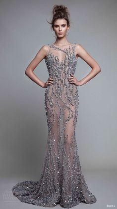 This is a wedding dress! berta rtw fall 2017 sleeveless illusion bateau neck beaded trumpet evening dresses mv -- Berta Fall 2017 Ready-to-Wear Collection Elegant Dresses, Pretty Dresses, Sexy Dresses, Fashion Dresses, Prom Dresses, Formal Dresses, Wedding Dresses, Lace Wedding, Looks Party