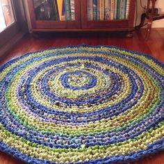 Mandala Cloth rug blue green and lime tones by HandmadebyJAK