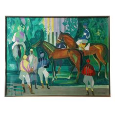 Lithograph of Horse Race, Camille Hilaire