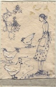 Betty and the chickens greet each other : Michelle Holmes