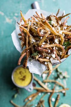Skinny Greek Feta Fries with Roasted Garlic Saffron Aioli