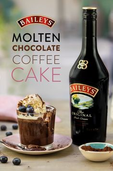 Melt together the best of all worlds: chocolate, Baileys, and coffee for a delectable restaurant-worthy dessert you can bake at home. Chocolate Cake With Coffee, Molten Chocolate, Coffee Cake, Chocolate Recipes, Chocolate Baileys, Sweet Recipes, Cake Recipes, Dessert Recipes, Yummy Drinks