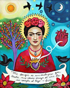 My Blood is a Miracle Frida Kahlo ART PRINT by CreativeKismet