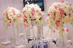 Aranjament floral nunta pe sfesnice cristal si masa din oglinda IssaEvents 2017