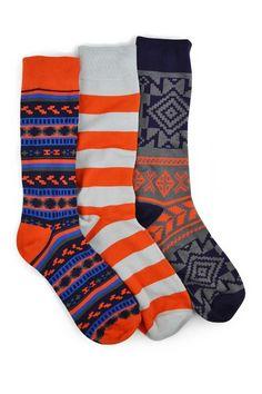 Orange Navy Crew Sock - Pack of 3 by MUK LUKS on @HauteLook