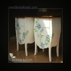 Blue rose painted on high drawer...  romantic vintage painted furniture by Benoa Kreati