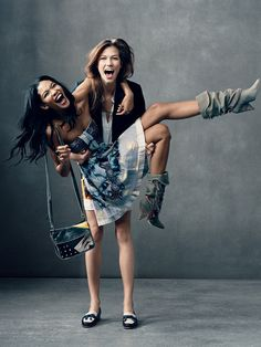 Karlie Kloss and Chanel Iman. Model best friends. @Kristin Rush