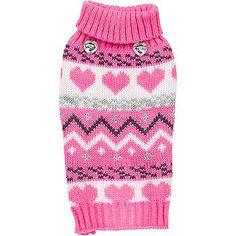 Petco Smoochie Pooch Pink Fair Isle Dog Sweater