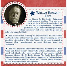 Over 100 Fascinating Facts About U.S Presidents Past and Present : Facts About US Presidents William Howard Taft Check Out Part 1 of This Post Here Presidents Wives, American Presidents, American Soldiers, Republican Presidents, Us History, Women In History, British History, Ancient History, History Education