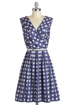 Kiss and Trellis Dress - Blue, White, Print, Pockets, Belted, Party, A-line, Sleeveless, V Neck, Wedding, Summer