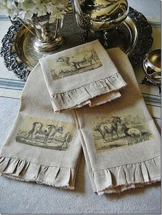 DIY Vintage French Tea Towels from Confessions of a Plate Addict French Decor, French Country Decorating, Country French, Country Farm, French Style, Hand Towels, Tea Towels, Dish Towels, Linen Towels