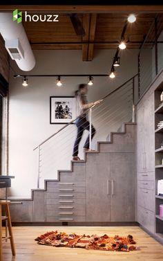 Home Interior Decoration Ideas Grey Interior Design, Best Interior, Home Interior, Interior Design Inspiration, Interior Decorating, Loft Design, Ux Design, Compact Living, Stair Storage