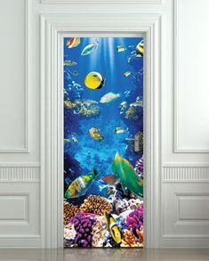 "Wall Door STICKER aquarium fish sea world mural decole film self-adhesive poster 30x79""(77x200cm) /"