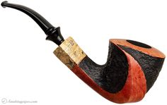 Gorgeous.  Randy Wiley Particialy Rusticated Bent Dublin with Spalted Maple (66) Pipes at Smoking Pipes .com