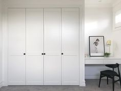 Shaker wardrobes + a built-in desk. Guest bedroom goals at thanks to our mates Wardrobe Design Bedroom, Bedroom Cupboard Designs, Bedroom Cupboards, Bedroom Desk, Kids Bedroom, Built In Desk, Built In Cabinets, Built In Storage, Built Ins