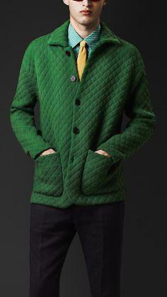 Burberry Prorsum Textured Knit Artist Jacket