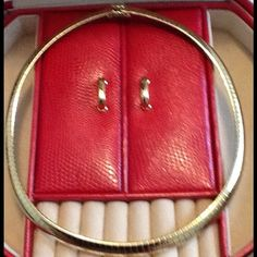 Gold tone Omega necklace Gold tone Omega with safety clasp. It has the look of an expensive gold Omega.  It looks great by itself or with a large slide / enhancer.  It is around 16 inches.  It is shiny, smooth, and feels really comfortable when you wear it.  No stamp on the back.  This time comes from a pet-free and smoke-free home. Jewelry Necklaces
