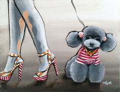 CANDY GIRL Original Painting 11 x14  Dog Art Dog by ArielleArtwork