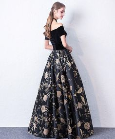 Modest / Simple Black Prom Dresses 2017 A-Line / Princess Off-The-Shoulder Short Sleeve Embroidered Floor-Length / Long Backless Formal Dresses Floral Prom Dresses, Prom Dresses 2017, Long Prom Gowns, Cheap Bridesmaid Dresses, Maxi Dresses, Party Dresses, Dress Prom, Black Evening Dresses, Black Prom Dresses