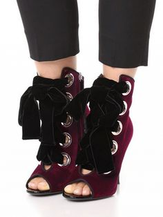 OMG Burgundy Suede Peep Toe Lace Up Detail Heeled Sandals #elegantshoegirl #shoes #ankle  #boots #flats #fashions #womens