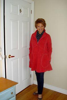 My Sandra Betzina Coat ( V1494 ) at Last by SewPassionista. Fabric is a denim look heavy drapery linen.