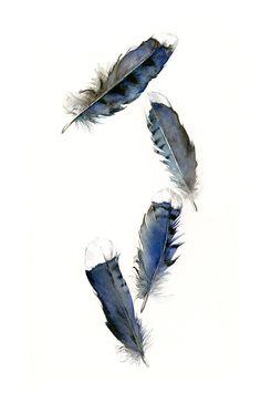 Feder-Malerei - Aquarell Federn, Feder - Eichelhäher-Federn - Archivierung Kunstdruck, minimalistisch, blau, Vogel Federn, natürliche Wohnkultur