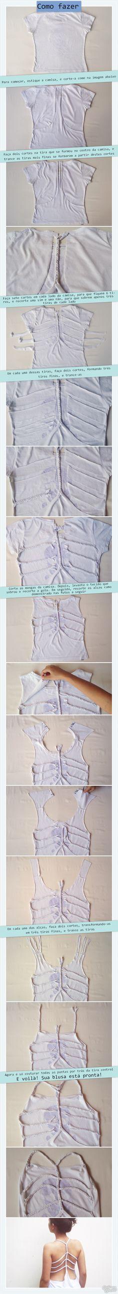 DIY braided shirt | DIY camisa com tranças | DIY Blusa customizada | Customização | http://cademeuchapeu.com