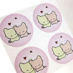 Check out this item in my Etsy shop https://www.etsy.com/listing/65353818/cat-stickers-maumau-cat-in-love-30 #cute#etsy#sticker#pink# love
