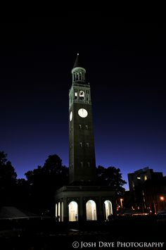 UNC Chapel Hill Bell Tower at night. Chapel Hill, NC