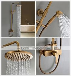 Sprinkle® by Lightinthebox - Antique Brass Tub Shower Faucet with 8 inch Shower Head + Hand Shower - GBP £ 124.61