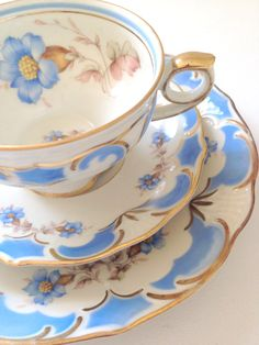 Vintage Bavaria Germany Footed Tea Cup  Saucer by MariasFarmhouse, $75.