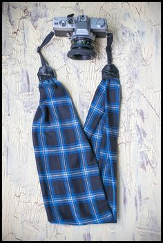Flannel Scarf Camera Strap - Blue, Black and White Plaid  - White or Black Ends by AmandaJeanCreations on Etsy